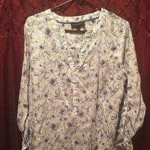White/blue floral cotton blouse
